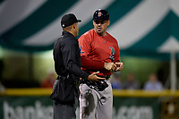 Lowell Spinners manager Luke Montz (30) argues a call with umpire Cliburn Rondon during a NY-Penn League Semifinal Playoff game against the Batavia Muckdogs on September 4, 2019 at Dwyer Stadium in Batavia, New York.  Batavia defeated Lowell 4-1.  (Mike Janes/Four Seam Images)