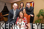 Andrew & Brenadette Field from Cappamore, Kells with their daughter Kate Ann who was christened in the Daniel O'Connell Church, Cahersiveen on Saturday 28th December with back l-r; Breda O'Sullivan & Cian Field, Canon Larry Kelly performed the celebration and pictured here in the Ring of Kerry Hotel at the family's after celebration.