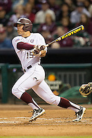 Texas A&M Aggie outfielder Daniel Mengden #15 follows through on his swing against the Houston Cougars in the NCAA baseball game on March 1st, 2013 at Minute Maid Park in Houston, Texas. Houston defeated Texas A&M 7-6. (Andrew Woolley/Four Seam Images).