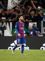 Football Soccer: UEFA Champions UEFA Champions League quarter final first leg Juventus-Barcellona, Juventus stadium, Turin, Italy, April 11, 2017. <br /> Barcellona's Lionel Messi leaves at the end of the Uefa Champions League football match between Juventus and Barcelona at the Juventus stadium, on April 11 ,2017.<br /> UPDATE IMAGES PRESS/Isabella Bonotto
