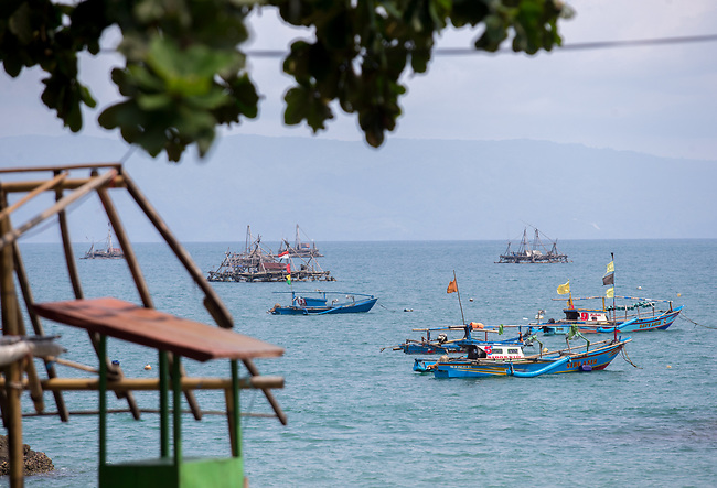 13 February 2019,Pelabuhan Ratu,Sukabumi Regency, West Java, Indonesia. Boat moored off the beach at  Cibangban village in West Java. Local fishermen say that people smugglers have not been active in the area for a long time in the wake of the Australian Government's concern that boats will once again start trafficking people to Australia with the new Medical legislation that has been passed. Picture by Graham Crouch/The Australian