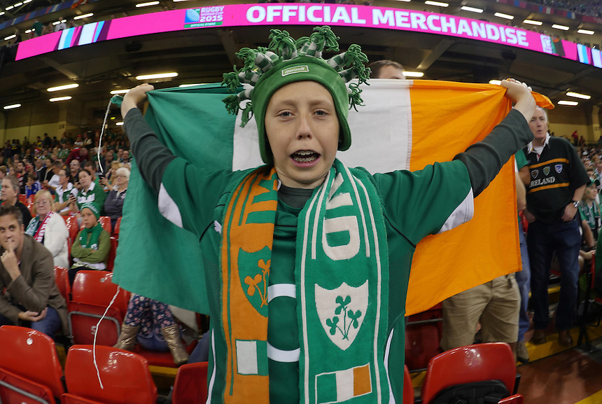 A young Irish fan prior to kick off <br /> <br /> Photographer Ian Cook/CameraSport<br /> <br /> Rugby Union - 2015 Rugby World Cup - Canada v Ireland - Saturday 19th September 2015 - Millennium Stadium - Cardiff<br /> <br /> &copy; CameraSport - 43 Linden Ave. Countesthorpe. Leicester. England. LE8 5PG - Tel: +44 (0) 116 277 4147 - admin@camerasport.com - www.camerasport.com