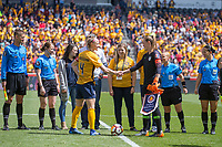 Sandy, UT - Saturday April 14, 2018: Becky Sauerbrunn and Alyssa Naeher during a regular season National Women's Soccer League (NWSL) match between the Utah Royals FC and the Chicago Red Stars at Rio Tinto Stadium.
