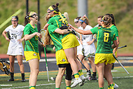 Towson, MD - March 25, 2017: Oregon Ducks celebrates after a goal during game between Towson and Oregon at  Minnegan Field at Johnny Unitas Stadium  in Towson, MD. March 25, 2017.  (Photo by Elliott Brown/Media Images International)