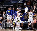 SIOUX FALLS, SD - MARCH 7:  The South Dakota State bench celebrates in the 2016 Summit League Tournament. (Photo by Dave Eggen/Inertia)