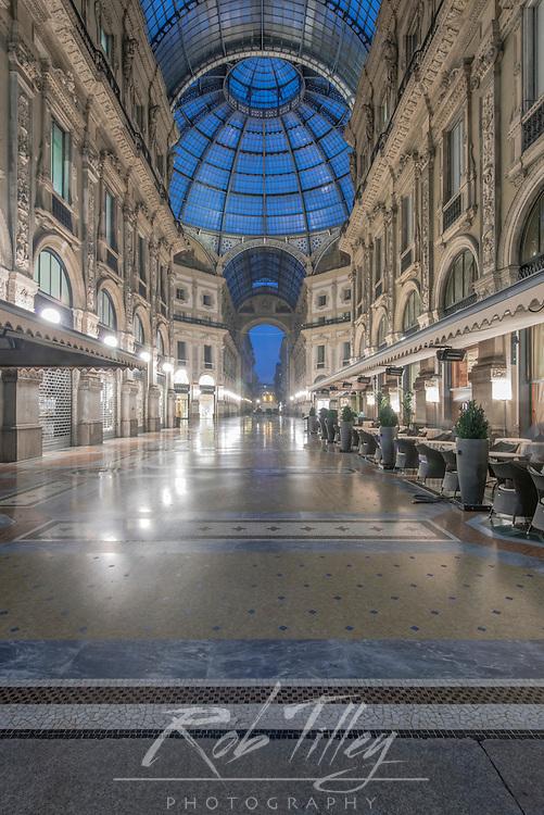 Italy, Milan, Galleria Vitorrio Emanuele II at Dawn