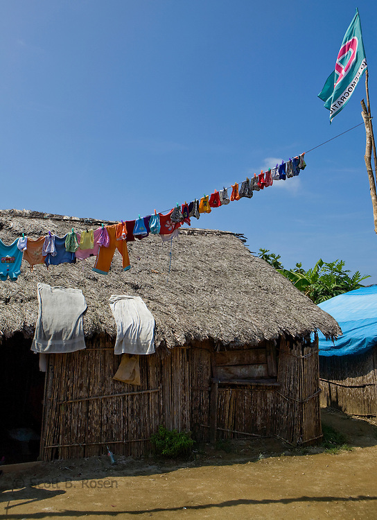 Clothes hanging on line in Rio Sidra, outside bamboo house, San Blas Islands, Kuna Yala, Panama