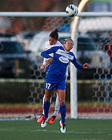 In a National Women's Soccer League Elite (NWSL) match, the Boston Breakers and  Washington Spirit drew 1-1, at the Dilboy Stadium on April 14, 2012.  Boston Breakers forward Kyah Simon (17) and Washington Spirit defender Ali Krieger (11) battle for head ball.
