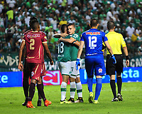 CALI - COLOMBIA - 24 - 09 - 2017: Los jugadores de Deportivo Cali celebran el gol anotado a Deportes Tolima, durante partido de la fecha 13 entre Deportivo Cali y Deportes Tolima, por la Liga Aguila II- 2017, jugado en el estadio Deportivo Cali (Palmaseca) de la ciudad de Cali. /  The players of Deportivo Cali celebrate a scored goal to Deportes Tolima, during a match of the date 13th between Deportivo Cali and Deportes Tolima, for the Liga Aguila II- 2017 at the Deportivo Cali (Palmaseca) stadium in Cali city. Photo: VizzorImage  / Nelson Rios / Cont.