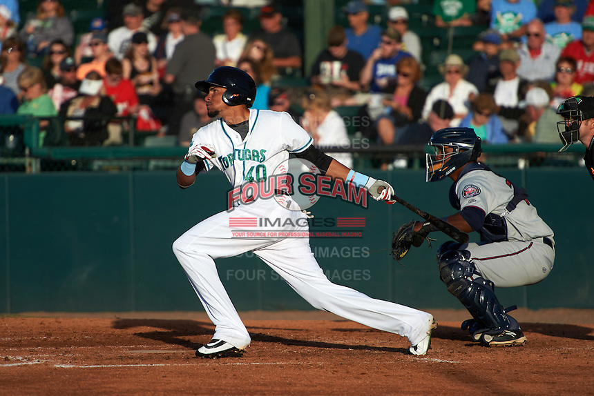 Daytona Tortugas center fielder Jonathan Reynoso (40) at bat in front of catcher Brian Navarreto during a game against the Fort Myers Miracle on April 17, 2016 at Jackie Robinson Ballpark in Daytona, Florida.  Fort Myers defeated Daytona 9-0.  (Mike Janes/Four Seam Images)