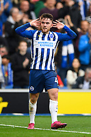 Aaron Connolly of Brighton and Hove  celebrates scoring the second goal in front of the Tottenham Hotspur  fans   during Brighton & Hove Albion vs Tottenham Hotspur, Premier League Football at the American Express Community Stadium on 5th October 2019