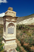 Nineteenth century gravestone in the silver-mining town of Real de Catorce, San Luis Potosi state, Mexico. Real de Catorce became a virtual ghost town during the early part of the 20th century. It has recently become a popuar destination for travellers.