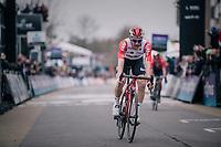 Tim Wellens (BEL/Lotto-Soudal) crosses the finish line 3rd<br /> <br /> 74th Omloop Het Nieuwsblad 2019 <br /> Gent to Ninove (BEL): 200km<br /> <br /> ©kramon