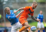 St Johnstone v Dundee Utd....21.04.12   SPL.Johnny Russell and Steven Anderson.Picture by Graeme Hart..Copyright Perthshire Picture Agency.Tel: 01738 623350  Mobile: 07990 594431