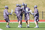 Tyler Cook (30) of the High Point Panthers celebrates with teammates after scoring a goal against the UMBC Retrievers at Vert Track, Soccer & Lacrosse Stadium on March 15, 2014 in High Point, North Carolina.  The Panthers defeated the Retrievers 17-15.   (Brian Westerholt/Sports On Film)