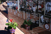 Saturday, November 8, 2008, Mt. Soledad Veterans Memorial La Jolla California. Audience is reflected in memorial wall as Brigadier General James Maitland Stewart, United States Air Force, a highly decorated WWII pilot is honored with a special plaque during at a dedication ceremony attended by his daughter and other family members.  Stewart, who would have been 100 years old this year was better known to most of the world as a highly acclaimed Hollywood actor.