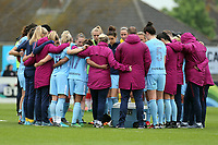 Manchester City huddle after Arsenal Women vs Manchester City Women, FA Women's Super League FA WSL1 Football at Meadow Park on 12th May 2018