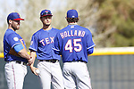 (L-R) Colby Lewis, Yu Darvish, Derek Holland (Rangers),<br /> FEBRUARY 21, 2014 - MLB :<br /> Texas Rangers spring training camp in Surprise, Arizona, United States. (Photo by AFLO)