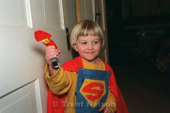 Nathaniel Nelson with a lego gun<br />