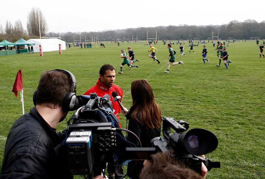 Photo: Richard Lane/Richard Lane Photography. Rosslyn Park HSBC National School Sevens. 28/03/2011. HSBC Ambassador, Jason Robinson.