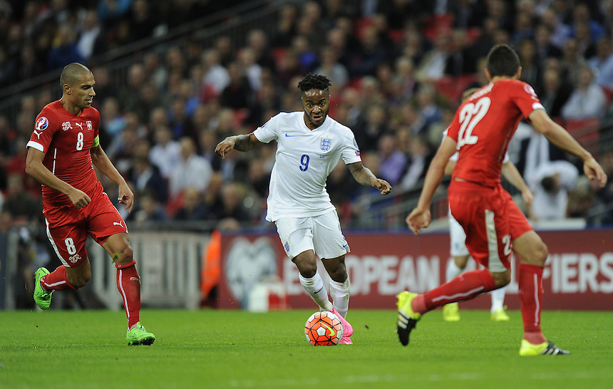 England&rsquo;s Raheem Sterling in action during todays match  <br /> <br /> Photographer Ashley Western/CameraSport<br /> <br /> International Football - UEFA EURO 2016 - UEFA European Championship Qualifying Group E - England v Switzerland - Tuesday 8th September 2015 - Wembley Stadium - London<br /> <br /> &copy; CameraSport - 43 Linden Ave. Countesthorpe. Leicester. England. LE8 5PG - Tel: +44 (0) 116 277 4147 - admin@camerasport.com - www.camerasport.com