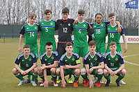 20180308 - TUBIZE , BELGIUM : Northern Ireland's team with Aidan Steele (14)   Michael Glynn (5)   Callum Taylor (12)   John Mc Givern (4)   Aaron Brown (18)   Trai Hume (16)   Carl Johnston (8)   Jack Scott (2)   Dylan Boyle (6 and captain)   Euan Deveney (3)   Barry Baggley Crowe (11)  pictured during a friendly game between the teams of the Belgian Red Devils Under 16 and Northern Ireland Under 16 at the Belgian Football Centre in Tubize , Thursday 8 th March 2018 ,  PHOTO Dirk Vuylsteke | Sportpix.Be