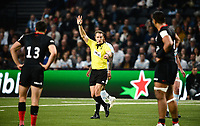 17th November 2019,  Paris La Défense Arena, Hauts-de-Seine, France; Champions Cup Rugby Union, Racing 92 versus Saracens;  ANDREW BRACE (referee) signals the try