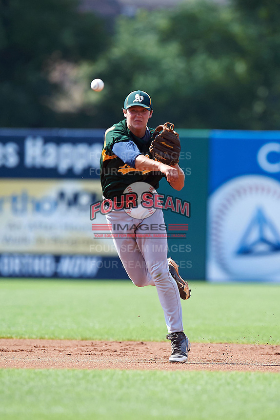 Nicholas Sanzel #9 of Farragut High School in Knoxville, Tennessee playing for the Oakland Athletics scout team during the East Coast Pro Showcase at Alliance Bank Stadium on August 4, 2012 in Syracuse, New York.  (Mike Janes/Four Seam Images)