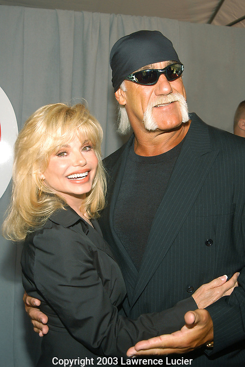 NEW YORK - MAY 15: Actor Loni Anderson (L) and wrestler Hulk Hogan appear at the UPN Upfront Previews May 15, 2003, at Madison Square Garden.
