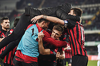 Krzysztof Piatek of AC Milan celebrates with team mates after scoring the goal of 1-2 <br /> Verona 9-03-2018 Stadio Bentegodi Football Serie A 2018/2019 Chievo Verona - AC Milan <br /> photo Image Sport / Insidefoto