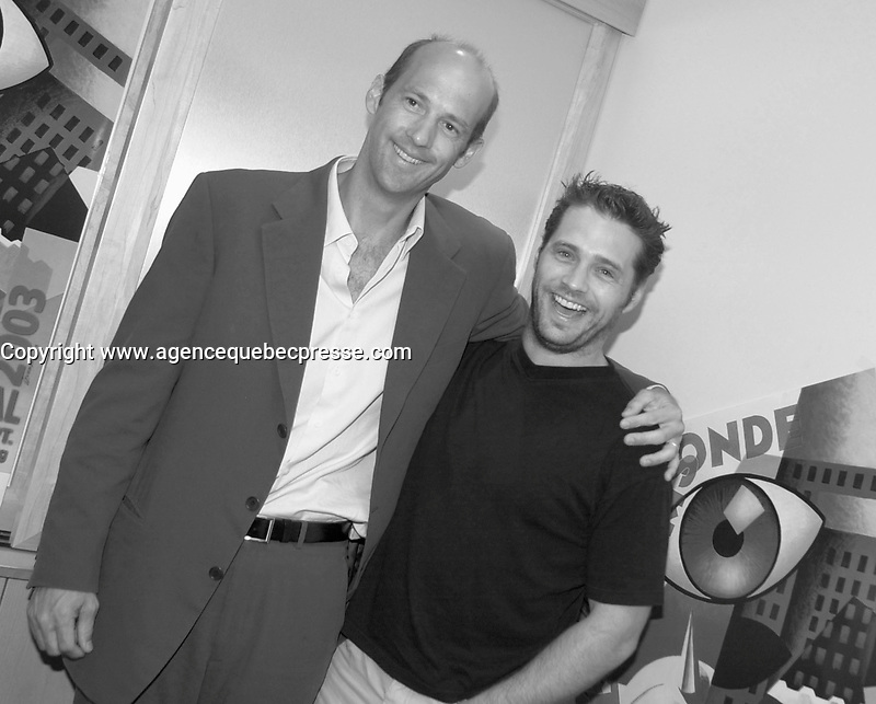 September 2,  2003, Montreal, Quebec, Canada<br /> <br /> Jason Priestley , actor (R) and Anthony Edwards, Producer and former TV Star of ER (L) pose for a photo for the movie DIE MOMMY DIE !<br /> september 2 2003<br /> <br /> The Festival runs from August 27th to september 7th, 2003<br /> <br /> <br /> Mandatory Credit: Photo by Pierre Roussel- Images Distribution. (&copy;) Copyright 2003 by Pierre Roussel <br /> <br /> All Photos are on www.photoreflect.com, filed by date and events. For private and media sales