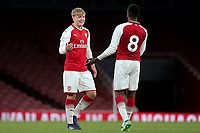 Arsenal's Matthew Smith celebrates scoring Arsenal's fifth goal with James Olayinka (No 8) during Arsenal Youth vs Blackpool Youth, FA Youth Cup Football at the Emirates Stadium on 16th April 2018