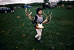 'QUANTOCK STAG HOUNDS', QUANTOCK, S. SOMERSET. YOUNGEST CLEAR ROUND WINNER. AT THE HUNTER TRIALS COLLECTS HER TROPHY, 1997