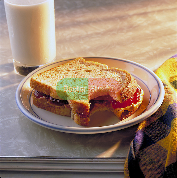 peanut butter and jelly sandwich with milk