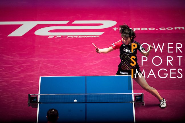 Yana Tie of Hong Kong vs Miu Hirano of Japan at their Women's Singles Quarter Final match during the Seamaster Qatar 2016 ITTF World Tour Grand Finals at the Ali Bin Hamad Al Attiya Arena on 10 December 2016, in Doha, Qatar. Photo by Victor Fraile / Power Sport Images