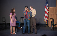 Photo from the dress rehearsal of the Occidental College Department of Theater presentation of The Many Deaths of Danny Rosales by Carlos Morton, directed by Culley Guest Artist Jorge Huerta, Nov. 7, 2018 in Keck Theater.<br /> The Many Deaths of Danny Rosales is a docu-drama based on actual events that transpired in Texas from 1975 to 1977. It deals with the trial of Sheriff Fred Hall who fatally shot Danny Rosales with a sawed off shotgun. Beginning in a courtroom, told through flashbacks, each witness and the defendant relate a different version leading up to Danny's death.<br /> (Photo by Marc Campos, Occidental College Photographer)