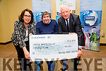On Wednesday FranK Hayes (Kerry Group ) presented a cheque of €50,000 to the Irish Wheelchair Association accepting the cheque were Kathleen McLoughlin (CEO IWA) and Terry O'Brien Tralee Service Co-Ordinator IWA) in Fels Point Hotel,Tralee on Wednesday