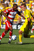 28 AUGUST 2010:  FC Dallas' Jeff Cunningham (9) and Chad Marshall of the Columbus Crew (14) during MLS soccer game between FC Dallas vs Columbus Crew at Crew Stadium in Columbus, Ohio on August 28, 2010.