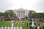 The Old Guard Fife and Drum Corps parades on the South Lawn of the White House, as United States President Barack Obama and Mexican President Felipe Calderon watch from the reviewing platform, Wednesday, May 19, 2010. .Mandatory Credit: Dylan Entelis - White House via CNP