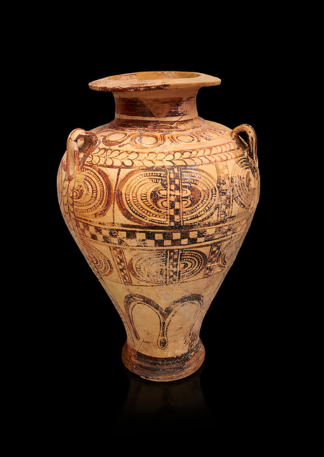 """Minoan """"Palace Style"""" clay decorated jars from the  Knossos-Isopata """"Royal Tomb"""" 1600-1500 BC BC, Heraklion Archaeological  Museum, black background."""