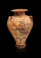 "Minoan ""Palace Style"" clay decorated jars from the  Knossos-Isopata ""Royal Tomb"" 1600-1500 BC BC, Heraklion Archaeological  Museum, black background."
