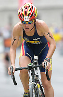 20 AUG 2005 - LAUSANNE, SWITZERLAND - Soraya Perez (ESP) - Elite Womens European Triathlon Championships. (PHOTO (C) NIGEL FARROW)