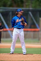 GCL Mets starting pitcher Cameron Planck (32) looks in for the sign during a game against the GCL Marlins on August 3, 2018 at St. Lucie Sports Complex in Port St. Lucie, Florida.  GCL Mets defeated GCL Marlins 3-2.  (Mike Janes/Four Seam Images)