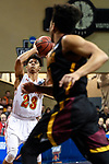 SIOUX FALLS, SD - MARCH 24: Jaylin McFadden #23 of Ferris State University attempts a three point basket during the Division II Men's Basketball Championship held at the Sanford Pentagon on March 24, 2018 in Sioux Falls, South Dakota. Ferris State University defeated Northern State University 71-69. (Photo by Tim Nwachukwu/NCAA Photos via Getty Images)