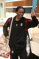 3 April 2008: The team departs for the Final Four and is sent off by fans and staff of the Athletic Department near Maples Pavilion in Stanford, CA. Pictured is Candice Wiggins.