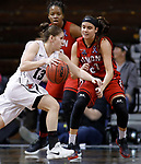 SIOUX FALLS, SD: MARCH 21:  Kelsey Williams #13 of Central Missouri drives toward Tiffany Rechis #21 of Union during their game at the 2018 Division II Women's Basketball Championship at the Sanford Pentagon in Sioux Falls, S.D. (Photo by Dick Carlson/Inertia)