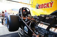 Jun. 2, 2013; Englishtown, NJ, USA: NHRA funny car driver Matt Hagan warms up his car in the pits during the Summer Nationals at Raceway Park. Mandatory Credit: Mark J. Rebilas-