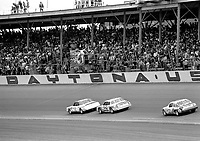 Neil Bonnett beats Cale Yarborough and Buddy Baker to the checkered flag to win the Busch Clash at Daytona in February 1984.(Photo by Brian Cleary)