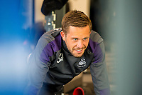 Gylfi Sigurdsson of Swansea City stretches during a gym session at The Fairwood training Ground, Swansea, Wales, UK. Tuesday 25 April 2017