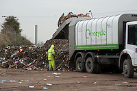 Unloading green waste for composting, Doncaster, Yorkshire.